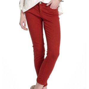 AG JEANS Red Stevie Slim Straight Ankle Jeans